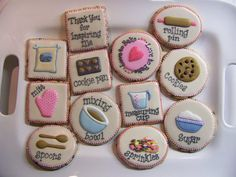 """Baking themed cookies I made for my fellow cookie decorating friend Callye. These are Chocolate Minichip Cookies with Royal Icing. Inspiration came when I ran across a cute baking themed scrapbook paper. I added few ideas to it and voila!      Re-create your  favorite restaurant's dishes """"on demand"""" by going to http://search-for.net/recipes"""