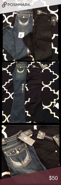 🆕 2x rock and republic jeans- size 8 Listing is for BOTH pairs of jeans  - both size 8 - new with tags - bootcut style with jewel details on pockets and Capri style  - retails $88 and $60 so you get 2 jeans for less than the price of 1!  Similar to Miss Me jeans style   ***PRICE FIRM*** Rock & Republic Jeans Boot Cut