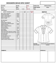 Garment Specification Sheet... when ordering clothes online