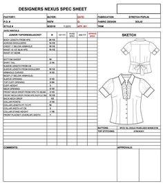 Missy/Junior Spec Sheet Sample - Womens, Mens, Childrens ...