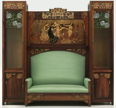 Gaspar Homar, Settee with side cabinets and the marquetry panel La sardine, 1903. Jacaranda and lemon wood with marquetry in jacaranda, mansonia, oak, ebony, sycamore, box, cherry and hungarian ash. Museu Nacional d'Art de Catalunya, Barcelona.
