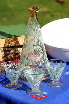 Vintage Hand Painted Decanter and Glasses Set