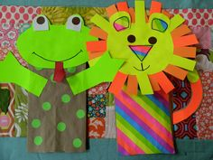 the vintage umbrella: Paper sack puppets