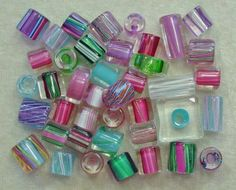 1 oz. Assorted David Christensen Pastel Spring Pink + Colors Cane Glass Beads
