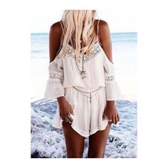 Rotita White Off the Shoulder Beach Romper ($20) ❤ liked on Polyvore featuring jumpsuits, rompers, dresses, outfits, people, white, long sleeve romper, long sleeve rompers, white long sleeve jumpsuit and white jumpsuit