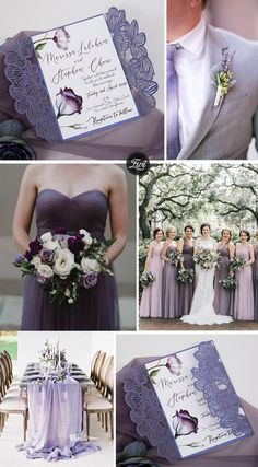 whimsical lavender purple summer wedding colors and invitations