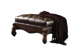 Acme Furniture ACME Versailles Dark Brown Faux Leather Ottoman - Just what I needed and works great.This Acme Furniture that is ranked in the list of the Square Ottoman, Round Ottoman, Tufted Ottoman, Leather Ottoman, Acme Furniture, Furniture Decor, Living Room Furniture, Ottoman Furniture, Dining Set For Sale