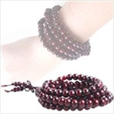 Wooden Prayer Beads Sandalwood Buddha Beads Necklace Chain Mala Amulet Bracelet for Buddhists - L