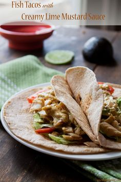 Fish Tacos with Creamy Lime Mustard Sauce | www.diethood.com | Dijon mustard, cream, wine, chili powder, and lime lend these fish tacos a delightfully warm, creamy, spicy flavor | #recipe #tacos #fish #dinner