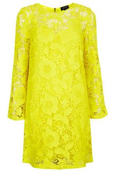 Bright Yellow, Crochet Lace, & Bell Sleeves. This Dress Is Perfection.