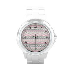Pink Teal Pastel Andes Abstract Aztec Pattern Wrist Watches