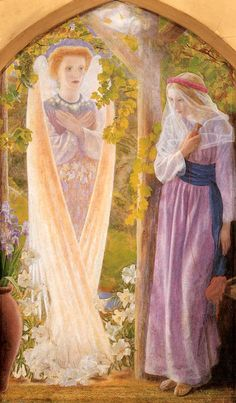 "Arthur Hughes (British Pre-Raphaelite painter) 1832 - 1915, The Annunciation, ca. 1858, oil on canvas, 35.9 x 61.3 cm. (14.13"" x 24.13""), Birmingham Museums and Art Gallery, Birmingham, United Kingdom"