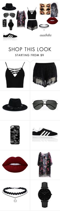 """""""coachela"""" by secret-styles-11 on Polyvore featuring Boohoo, Chicwish, Maison Michel, Yves Saint Laurent, Mr. Gugu & Miss Go, adidas, Lime Crime and CLUSE"""