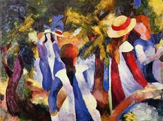 August Macke - Young Girls Under the Trees, 1914. Oil on canvas, 116.2 x 159 cm. Pinakothek der Moderne, Bayerische Staatsgemäldesammlungen, Munich, Germany