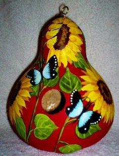 Sunflowers, Butterflies, Pretty Shaped Apple Red Gourd birdhouse Garden Yard/Art