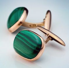 Vintage Malachite Gold Cufflinks