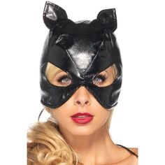 Black faux leather cat mask ($14) ❤ liked on Polyvore featuring costumes, mask, black, cat halloween costumes and cat costumes