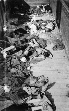 Corpses lie in one of the open railcars of the Dachau death train. The Dachau death train consisted of nearly forty cars containing the bodies of between two and three thousand prisoners transported to Dachau in the last days of the war. Dachau, Germany, April 29, 1945.