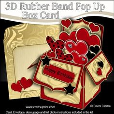 3D Loving Hearts Rubber Band Pop Up Box Card on Craftsuprint designed by Carol Clarke - **All NEW Template**6 sheets in the kitRubber Band Operated Pop Up Card2 piece matching envelopecoordinating backing paperGreetings3D decoupageA fabulous card that pops up as soon as it's taken out of it's matching envelope. The rubber band hidden inside the card instantly transforms your lovely design into a box as if by magic! The card easily folds flat to fit into it's matching envelope and once taken ...