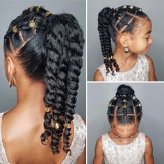 African Hairstyles For Kids, Little Girls Natural Hairstyles, Black Girl Short Hairstyles, Kids Curly Hairstyles, Twist Hairstyles, Party Hairstyles, Bride Hairstyles, Vintage Hairstyles, Kids Wedding Hairstyles