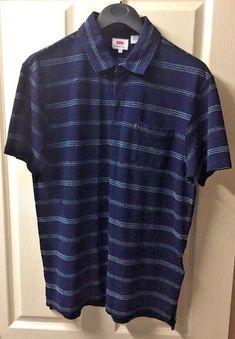 77613a8490e9 Mens Levi s Polo Top T Shirt Size L Large Smart Casual Cotton Stripes