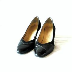 French Vintage 80s Black  Suede/Leather Shoes by bOmode on Etsy, $49.00