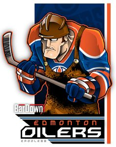 Edmonton Oilers: An Oil Rigger with a hockey stick . Hockey Logos, Nhl Logos, Hockey Teams, Hockey Stuff, Nhl Season, Hockey Season, Creative Logo, Dek Hockey, Hockey Pictures