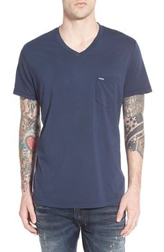 DIESEL 'T-Thery' V-Neck Pocket T-Shirt. #diesel #cloth #