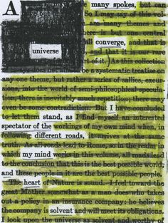 Example of a redacted astropoem. A page of John Burroughs Accepting the Universe (1920) redacted into a poem. From the blog --tychogirl