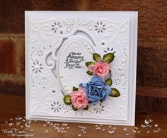 Card made using Crafter's Companion Create a Card Enchanted die. By Liz Walker.