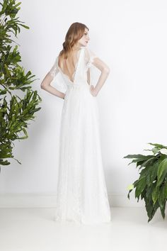 French lace wedding dress with an illusion cleavage, back cut and lace wings. Divine Atelier, French Lace, Wedding Gowns, Bohemian, Couture, Chic, Collection, Look, Fashion
