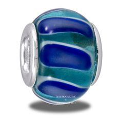 Da Vinci Beads Light & Dark Blue Swirl Art Glass Bead