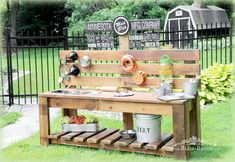 Mud Pie Station Bliss-Ranch.com- COULD BE A GREAT GARDEN  WORK TABLE.