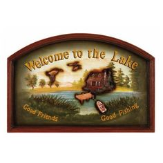 Pub Sign - Welcome to the Lake https://www.studio9furniture.com/entertain/bar-decor/wall-decor/pub-sign-welcome-to-the-lake  Feel the welcome with this pub sign made from a hand painted finish.
