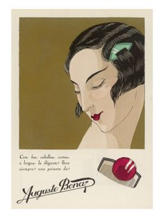 Colour Advertisement for a Hair Comb Worn in the Shingled Bob of an Elegant 1920s Lady