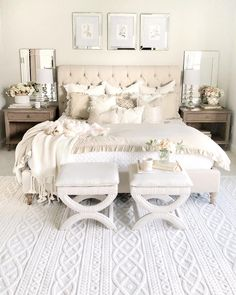 76 Luxury All White Bedroom Decor Ideas – housedecor Stylish Bedroom, Cozy Bedroom, Bedroom Sets, Home Decor Bedroom, Taupe Bedroom, Bedroom Curtains, Rich Girl Bedroom, French Bedroom Decor, Neutral Bedroom Decor