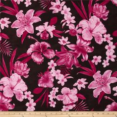 Kaufman Tahitian Nights Poplin Spaced Flowers Hot Pink from @fabricdotcom  From Kaufman Fabrics, this Hawaiian themed poplin fabric features a soft, smooth hand and dull bodied drape. Perfect for creating shirts, shorts, dresses and skirts. Colors include hot pink, pink and a brown background.