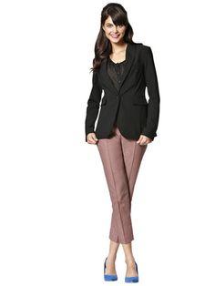 Day 21    Top: Mango, $44.99; amazon.com.    Blazer: Victoria's Secret Catalogue, $128; victoriassecret.com.    Cropped pants: Keds, $138; openingceremony.us.    Heels: H, $24.95; hm.com for store locations.