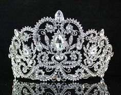 Janefashions Victorian Clear Rhinestone Crystal Tiara w/ Hair Combs Bridal Prom Pageant T1505 -- Click on the image for additional details.