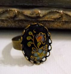 Black Vintage Floral Cabochon Ring with an by lucindascharms, $16.00