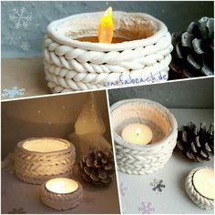 Was kann man im Winter besser gebrauchen, als einen warmen Strickpullover? Wir werden uns zwar keinen Pullover stricken, dagür basteln wir diese tollen Kerzenhalter aus Fimo im Strickmuster. Ist doch auch was, oder?