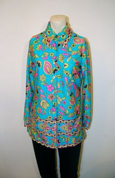 Psychedelic Florals in Neon! Vintage Catalina Button Down Tunic by GOLDIEPROPER, $24.00