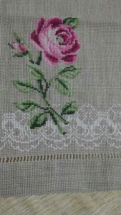 Cross Stitch Rose, Cross Stitch Borders, Cross Stitch Flowers, Cross Stitch Embroidery, Hand Embroidery, Cross Stitch Patterns, Embroidery Designs, Ribbon Work, Bargello