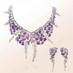 Van Cleef  Arpels Victoria set from the High Jewelry collection Les Jardins in white gold, pink and mauve sapphires, white cultured pearls.