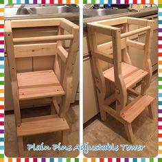 **************PLEASE READ THIS DESCRIPTION FIRST BEFORE ORDERING THE TOWER********************************* This is a Handmade Helping Tower made from solid wood, sanded to perfection. Plain towers are just plain sanded, unfinished wood. The adjustable JR tower only comes in PLAIN SANDED