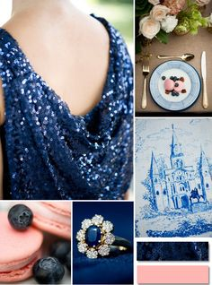 navy blue sequins and pink wedding ideas 2014 trends