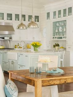 white kitchens with seafoam green | The Little White House On The Seaside: The Colour Of The Sea