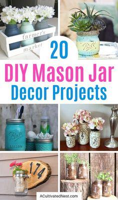 20 Creative DIY Mason Jar Decor Ideas- A Cultivated Nest