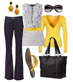 Yellow Sweater Jeans Outfit