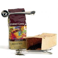 coffee Scoop & Clamp bag shut keep fresh roasted espresso ground LOVERS GIFT